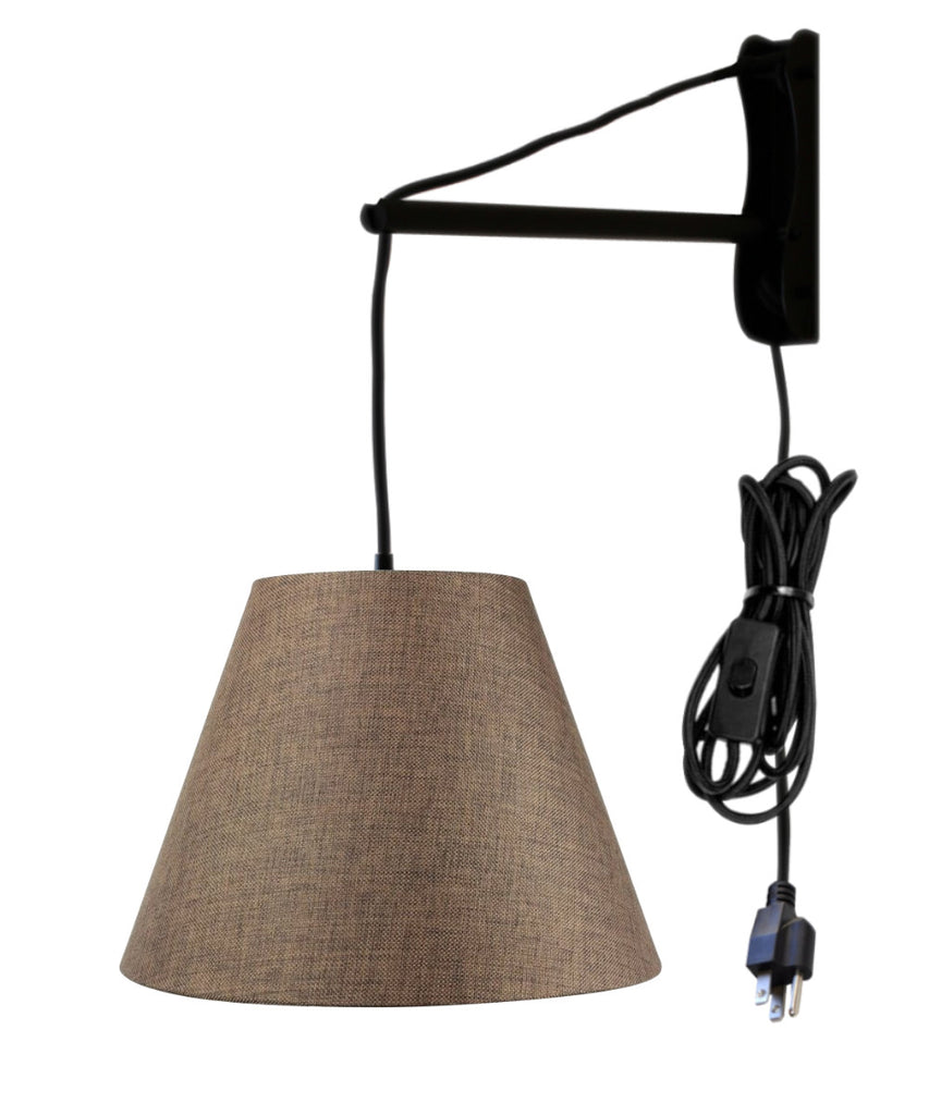 MAST Plug-In Wall Mount Pendant, 1 Light Black Cord/Arm, Chocolate Burlap Shade 08x16x12