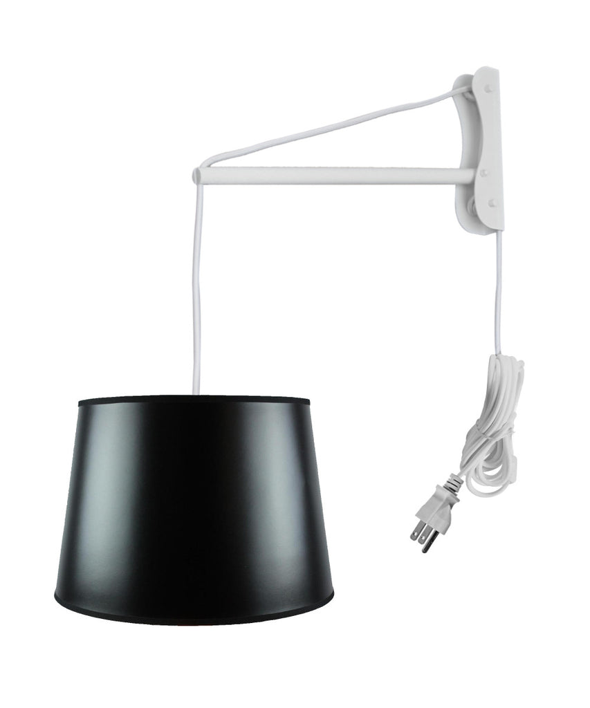 MAST Plug-In Wall Mount Pendant, 2 Light White Cord/Arm with Diffuser, Black Parchment Gold-Lined Shade 13x16x11