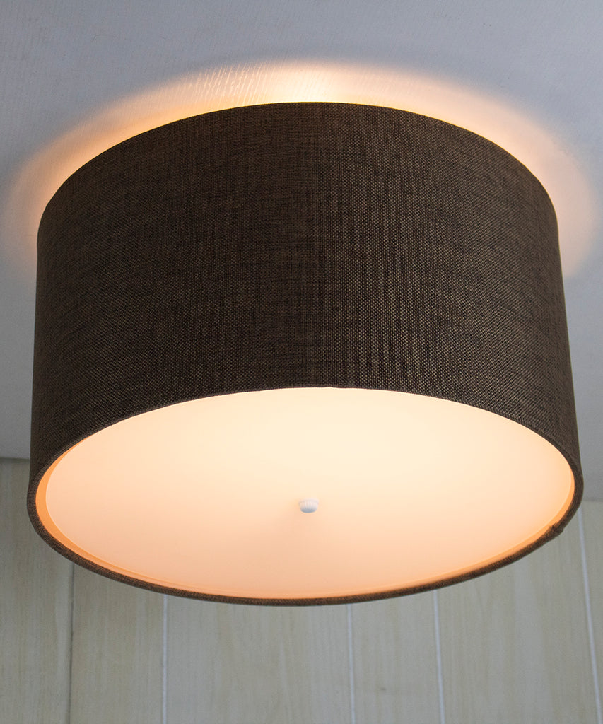 "18"" Moderne Flush Mount Converter Kit Chocolate Burlap Shallow Drum Lampshade 18""x18""x10"""
