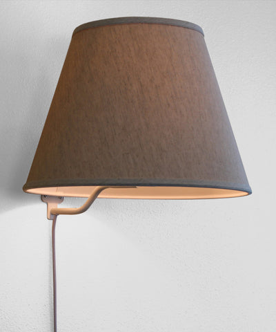 0-000421>Floating Shade Plug-In Wall Light Textured Oatmeal Fabric 9x16x12