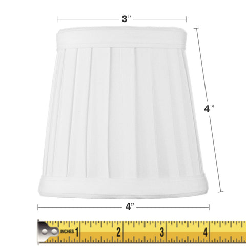 0-000926>3x4x4 Down White Pleated Clip-on Candelabra Lampshade