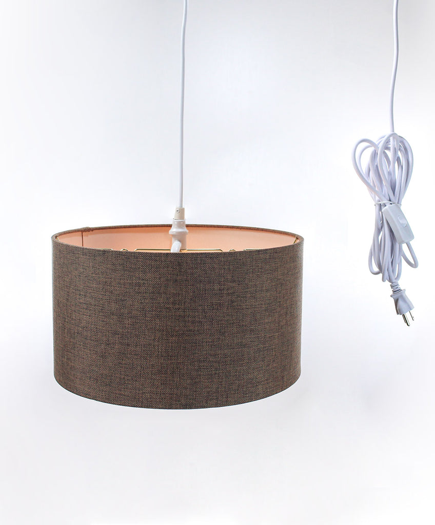 0-002068>Chocolate Burlap 2 Light Swag Plug-In Pendant with Diffuser