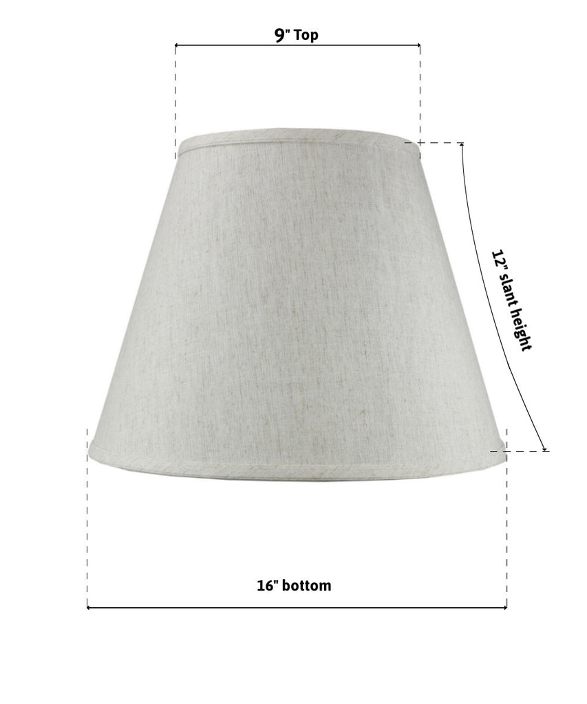9x16x12 SLIP UNO FITTER Textured Oatmeal Empire Hardback Lamp Shade