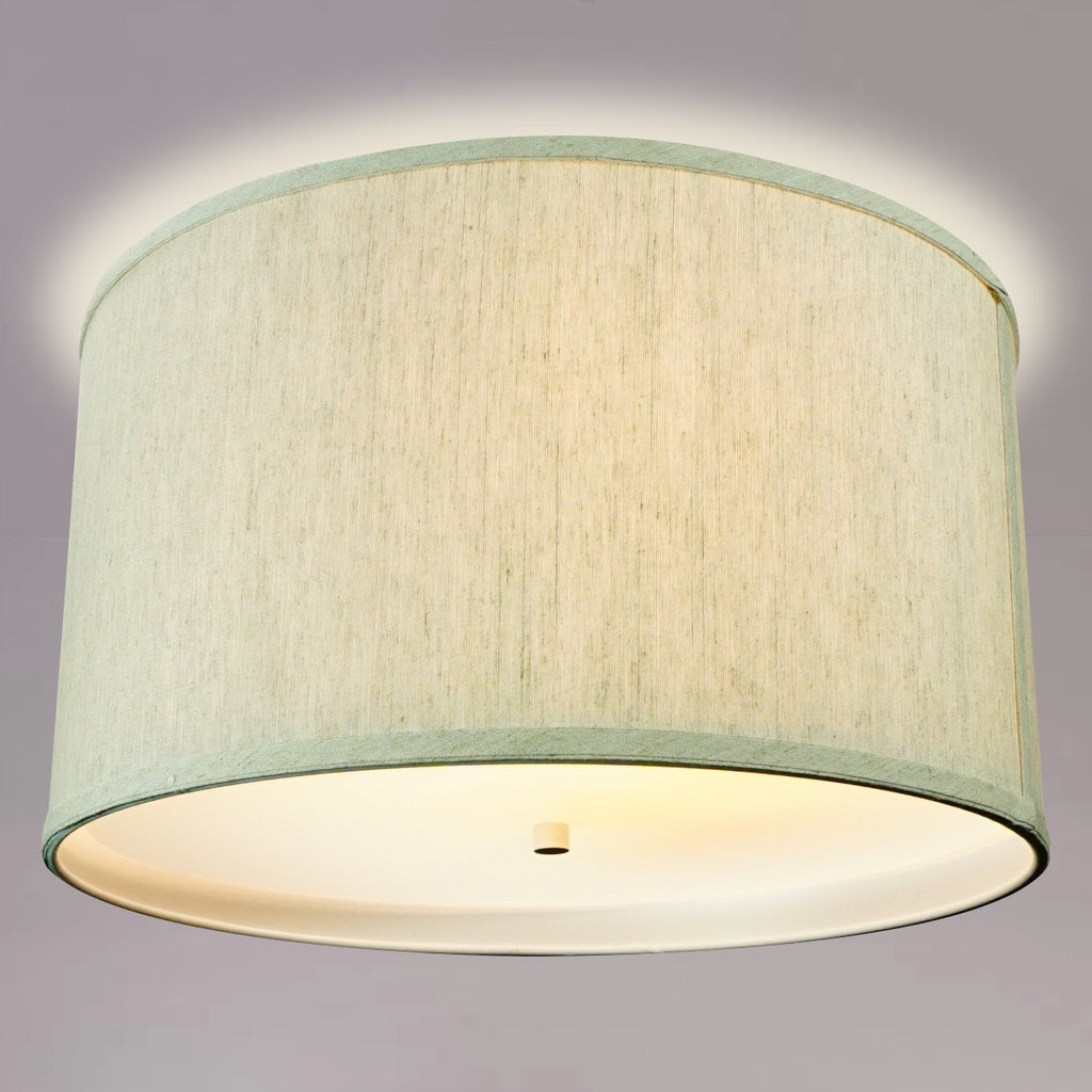 "0-002112>18"" Moderne Flush Mount Converter Kit Textured Oatmeal  Shallow Drum Lampshade 18""x18""x10"""