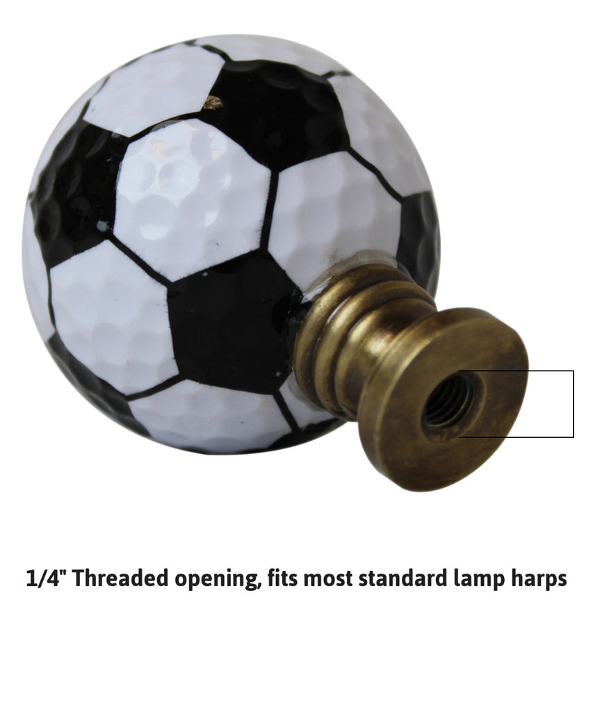 "Soccer Ball Lamp Finial, Black and White Pentagon Pattern, 2.25""h"