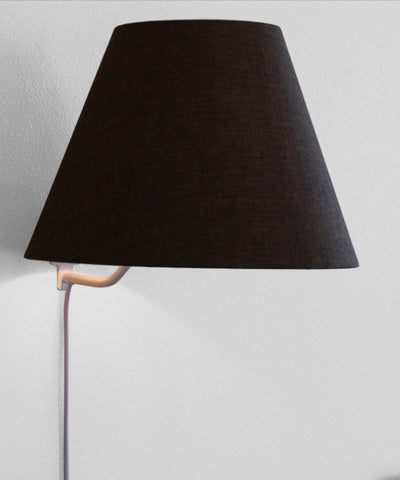 0-000247>Floating Shade Plug-In Wall Light Chocolate Burlap 8x16x12