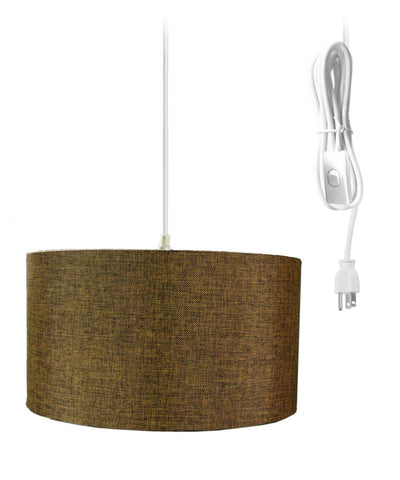 0-000075>1-Light Plug In Swag Pendant Ceiling Light Chocolate Burlap Shade
