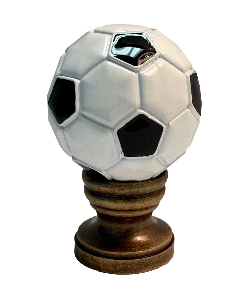 "Alloy Soccer Ball Lamp Finial Antiqued Brass Base 1.75""h"