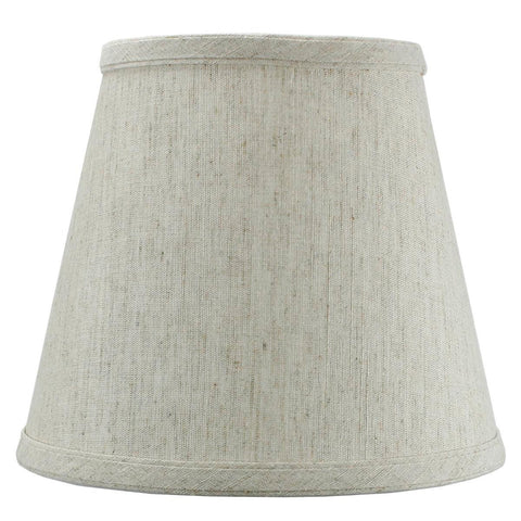 0-002007>5x8x7 Textured Oatmeal Hard Back Lampshade with Gold Lining Edison Clip On