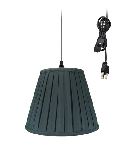 "0-002000>14""w 1-Light Plug-In Swag Pendant Lamp Black"