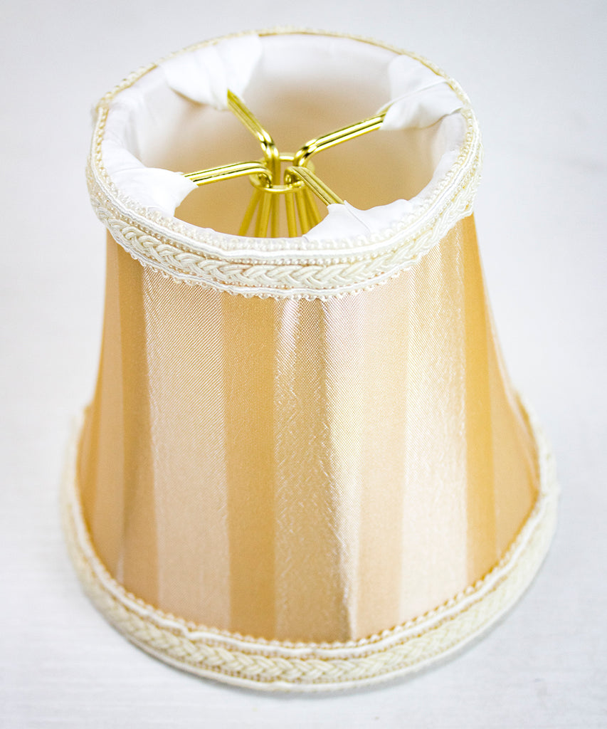 000124>3x5x4 Beige/EggShell Striped Stretch Clip-On Candlelabra Clip-On Lamp Shade