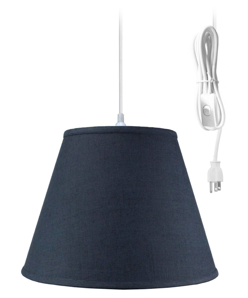 1 Light Swag Plug-In Pendant Hanging Lamp Textured Slate Blue