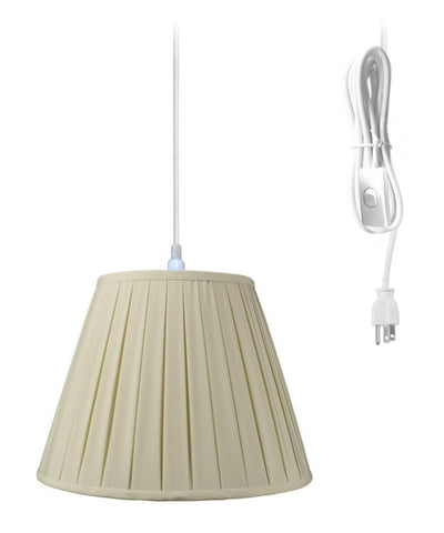 0-016684>1-Light Plug In Swag Pendant Lamp Eggshell Shade