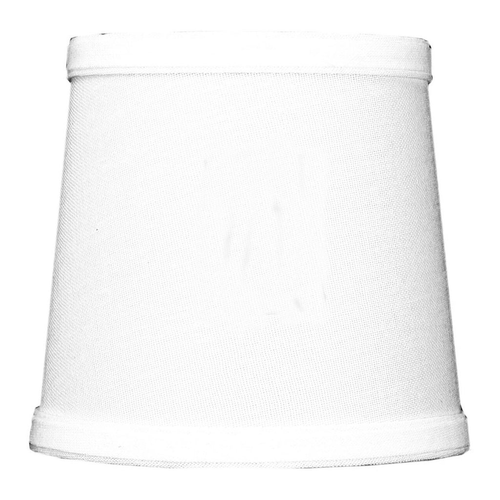 0-000755>5x6x5 White Linen Drum Chandelier Clip-On Lampshade