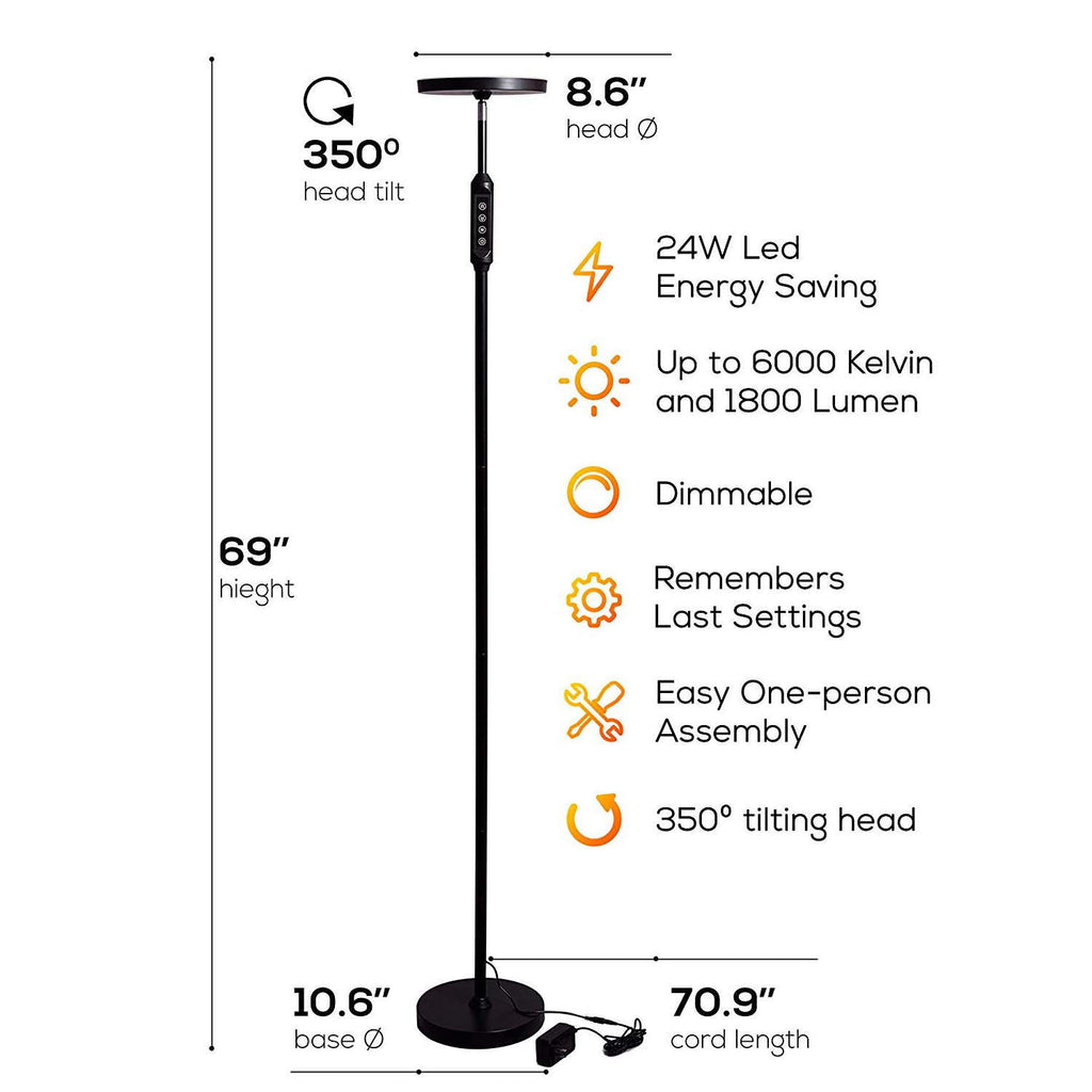 "LED Torchiere 70"" Floor Lamp (5 Color Settings) 2,100 Lumens,Dimmable Black Metal with Remote"