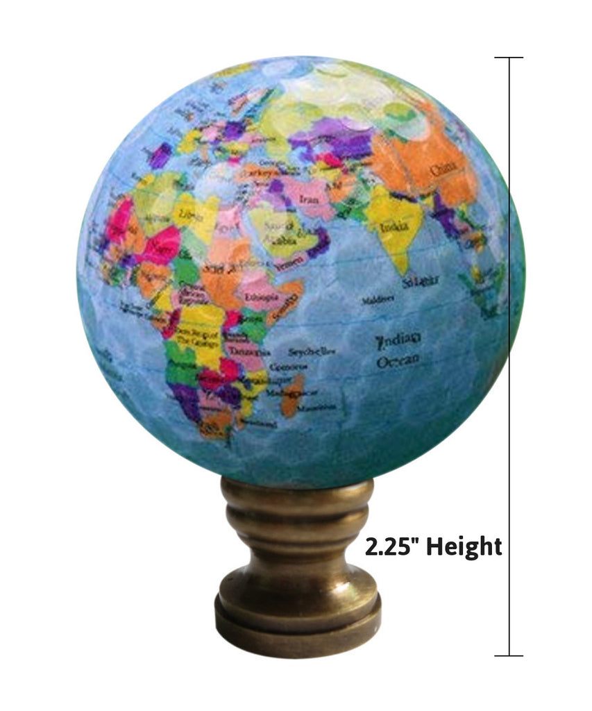 "Earth Globe Lamp Finial, Blue Water with Colored Land Pattern, 2.25""h"
