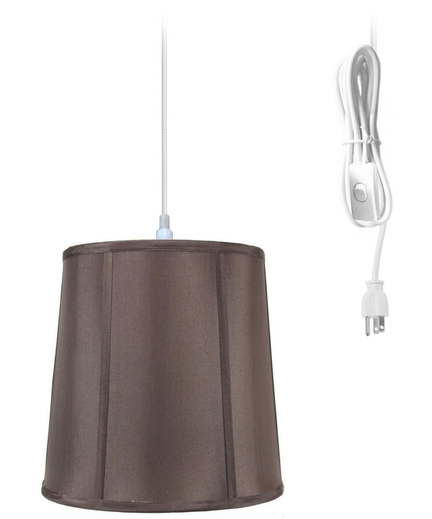 0-000348>1-Light Plug In Swag Pendant Lamp Chocolate Shade