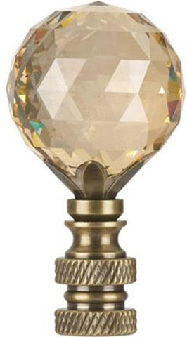 "0-000939>Stephanov Faceted Champagne Crystal Ball Lamp Finial Antique Brass 2.25""h"