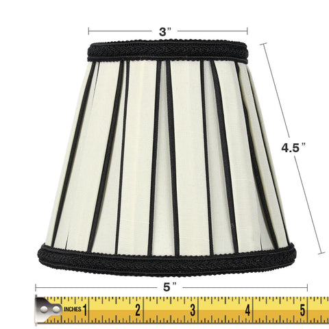 0-000668>3x5x5 Eggshell with Black Chandelier Clip-On Lampshade