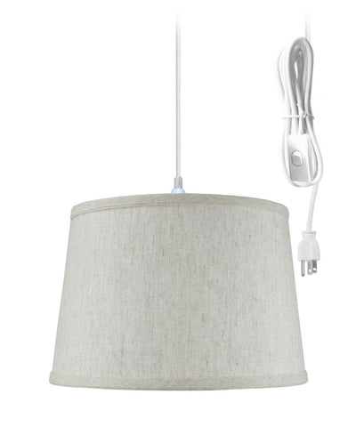 0-002042>Shallow Drum 1 Light Swag Plug-In Pendant Hanging Lamp 10x12x8 Textured