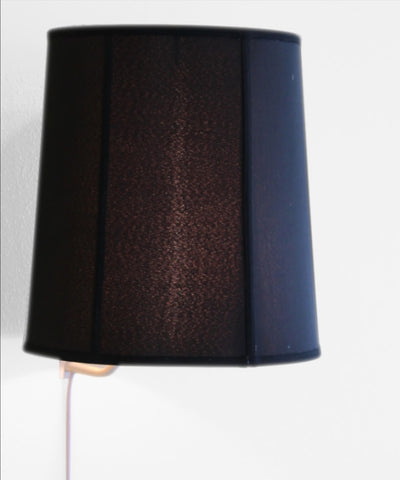 0-000885>Floating Shade Plug-In Wall Light Black Shantung Fabric 14x16x17