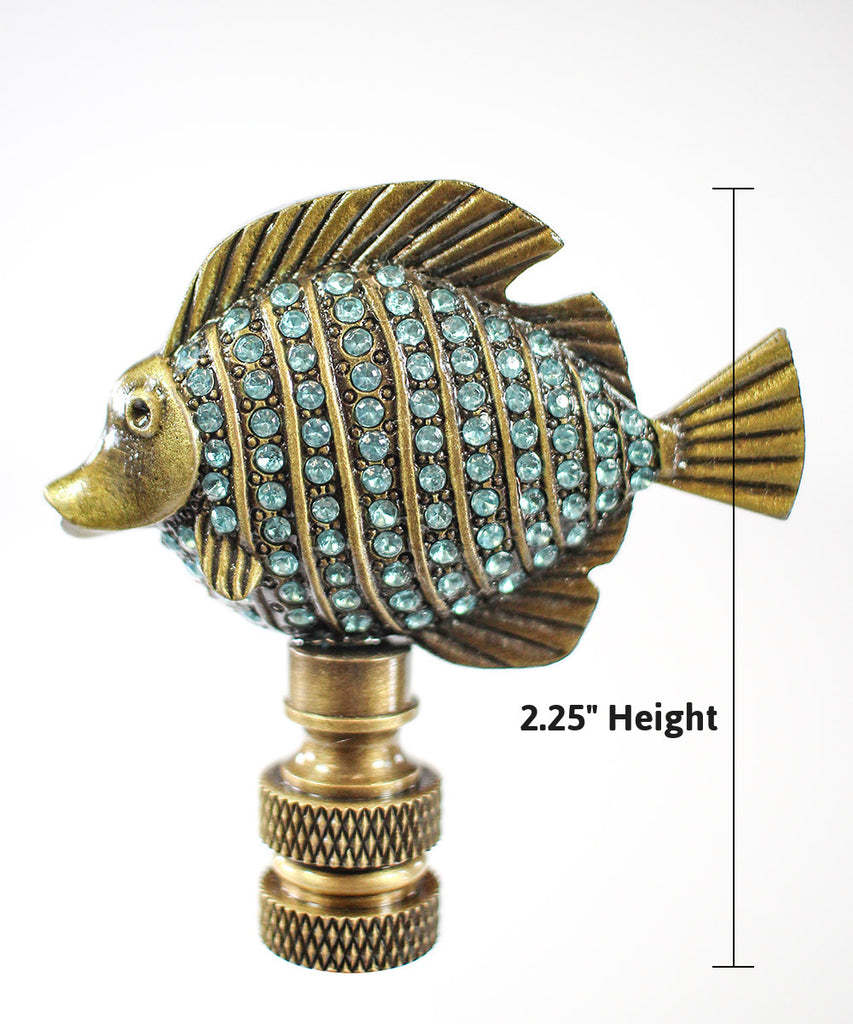 "Tropical Fish Lamp Finial with Aegean Blue Glass Antique Brass Finish 2.25""h"