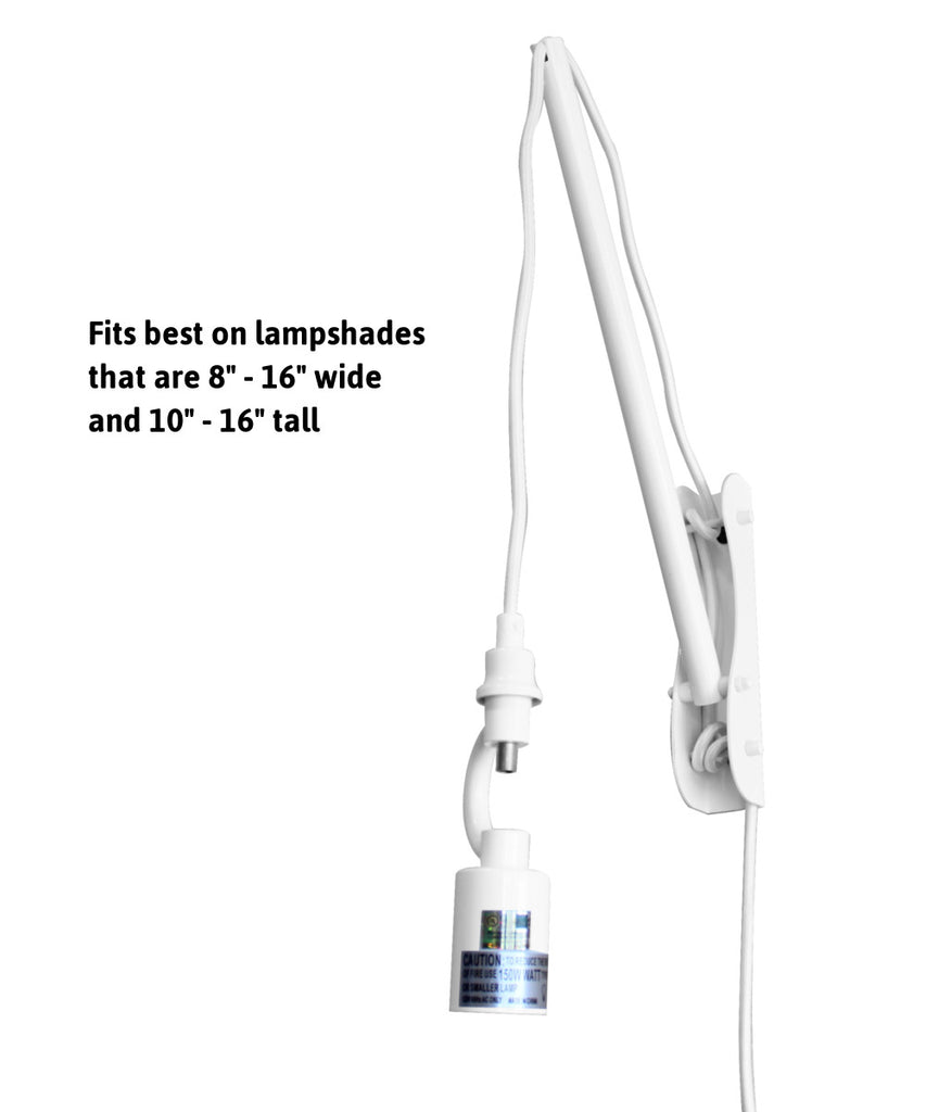 0-003138>The MAST 1 Light Wall Arm Converts Your Lampshade to a Wall Pendant, White