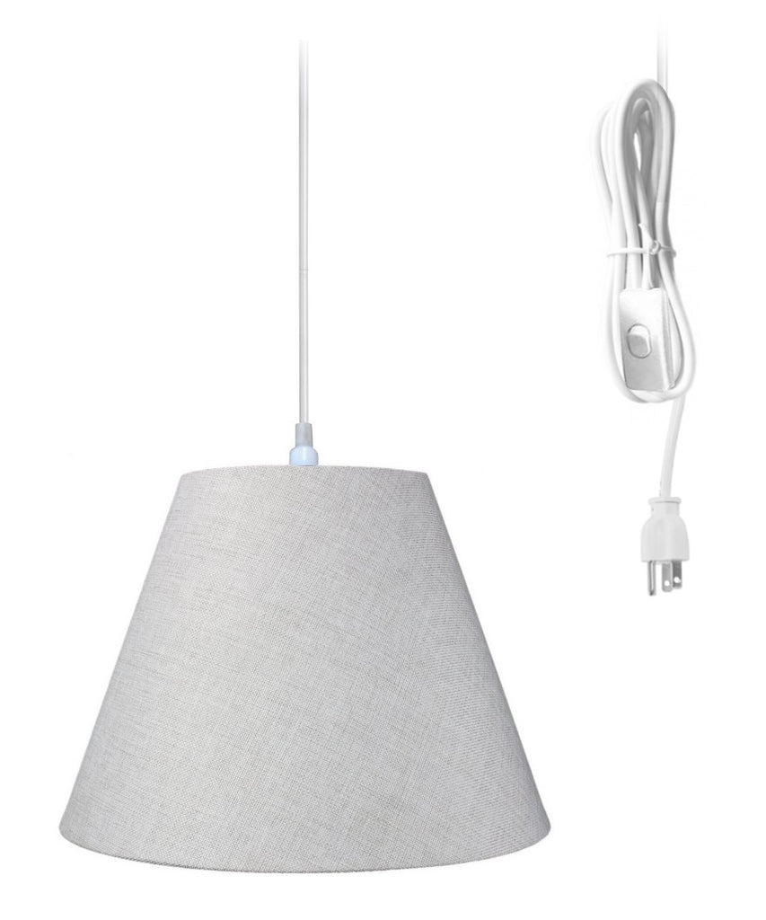 0-000494>Swag Pendant Plug-In One Light Khaki Burlap Shade