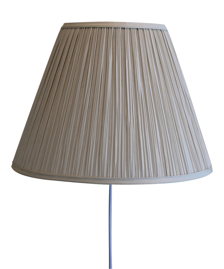 0-000276>Floating Shade Plug-In Wall Light EggShell Mushroom Pleat 8x16x12