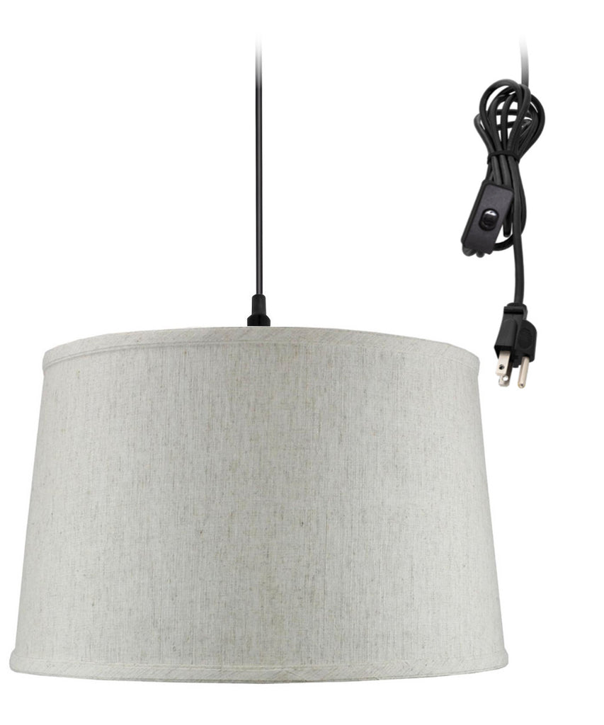 0-002000>Shallow Drum 1 Light Swag Plug-In Pendant Hanging Lamp Textured Oatmeal