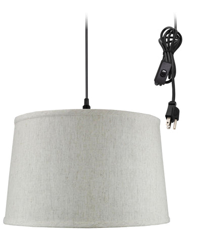 Shallow Drum 1 Light Swag Plug-In Pendant Hanging Lamp Textured Oatmeal
