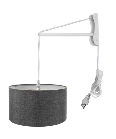 MAST Plug-In Wall Mount Pendant, 2 Light White Cord/Arm with Diffuser, Granite Gray Shade 16x16x08