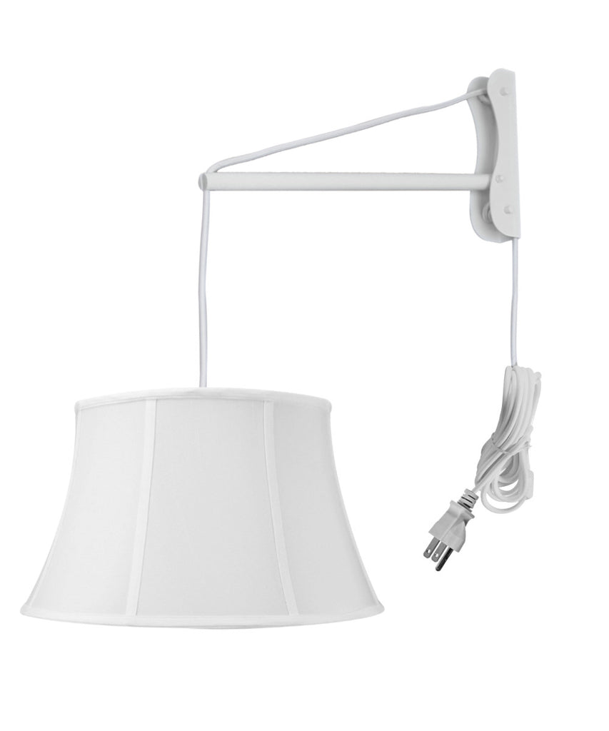 0-002849>MAST Plug-In Wall Mount Pendant, 1 Light White Cord/Arm, White Shade 12x17x10