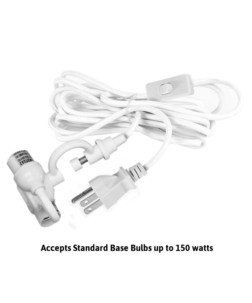 0-001336>MAST Plug-In Wall Mount Pendant, 2 Light White Cord/Arm with Diffuser, White Shade 12x17x10