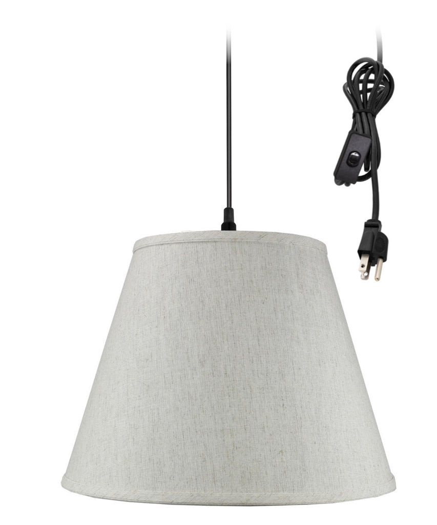 0-002000>1 Light Swag Plug-In Pendant Hanging LampTextured Oatmeal