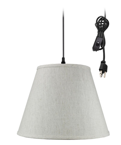 1 Light Swag Plug-In Pendant Hanging LampTextured Oatmeal