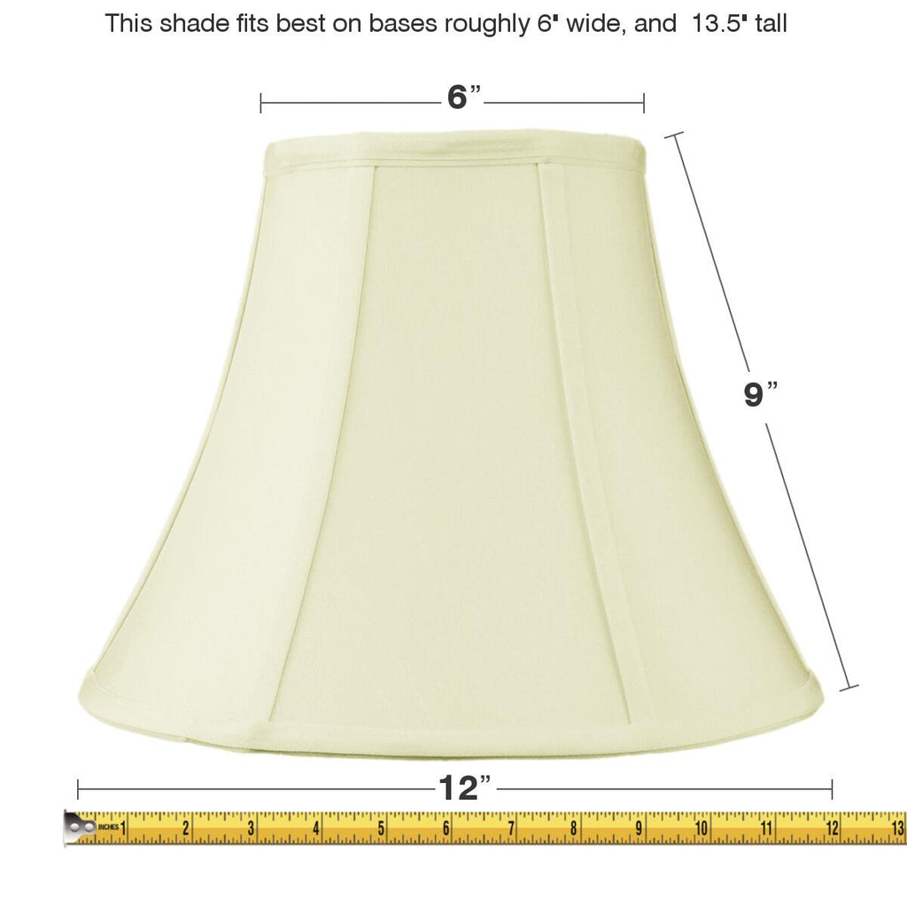 0-000742>6x12x9.5 Slip Uno Fitter Egg Shell Shantung Bell Lampshade