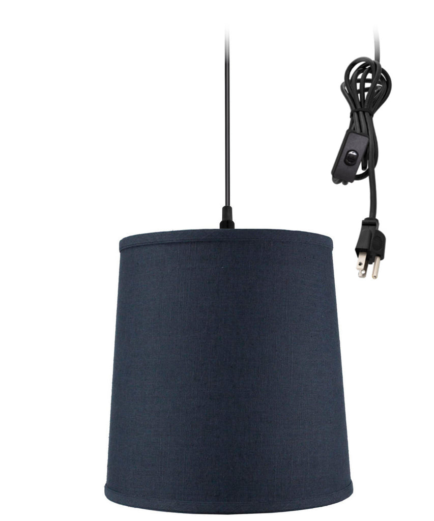 0-002000>Textured Slate Blue Shantung 1 Light Swag Plug-In Pendant Hanging Lamp