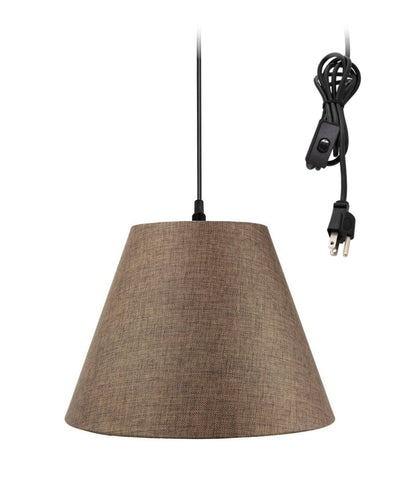 0-002000>1-Light Plug In Swag Pendant Ceiling Light Chocolate Burlap Shade