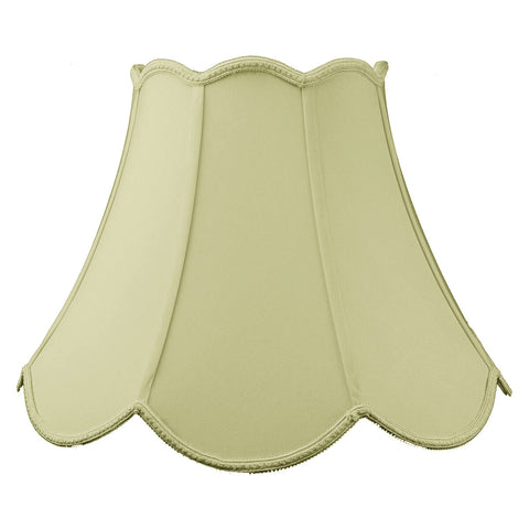 0-015600>9x18x13 SLIP UNO FITTER Scalloped Bell Lamp Shade Eggshell