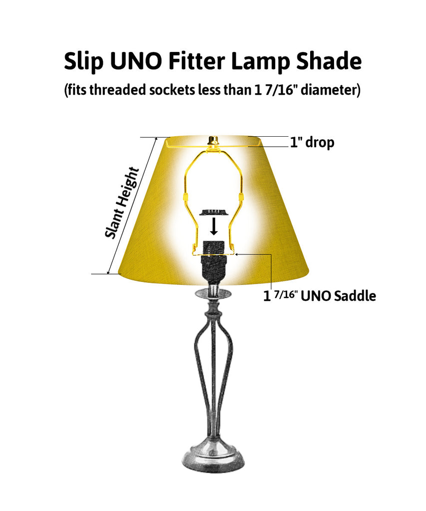 0-001408>7x14x11 SLIP UNO FITTER Black with Gold Lining Bell Lampshade
