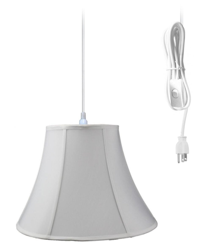0-001322>1-Light Plug In Swag Pendant Lamp White Shade