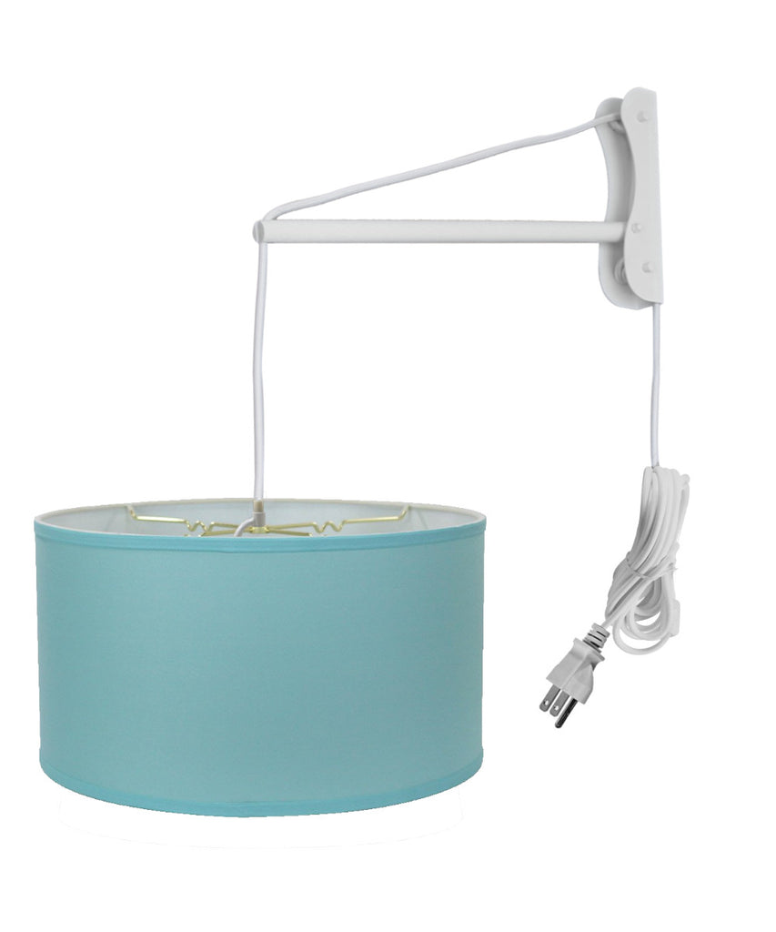 MAST Plug-In Wall Mount Pendant, 1 Light White Cord/Arm, Island Paridise Blue Shade 18x18x10