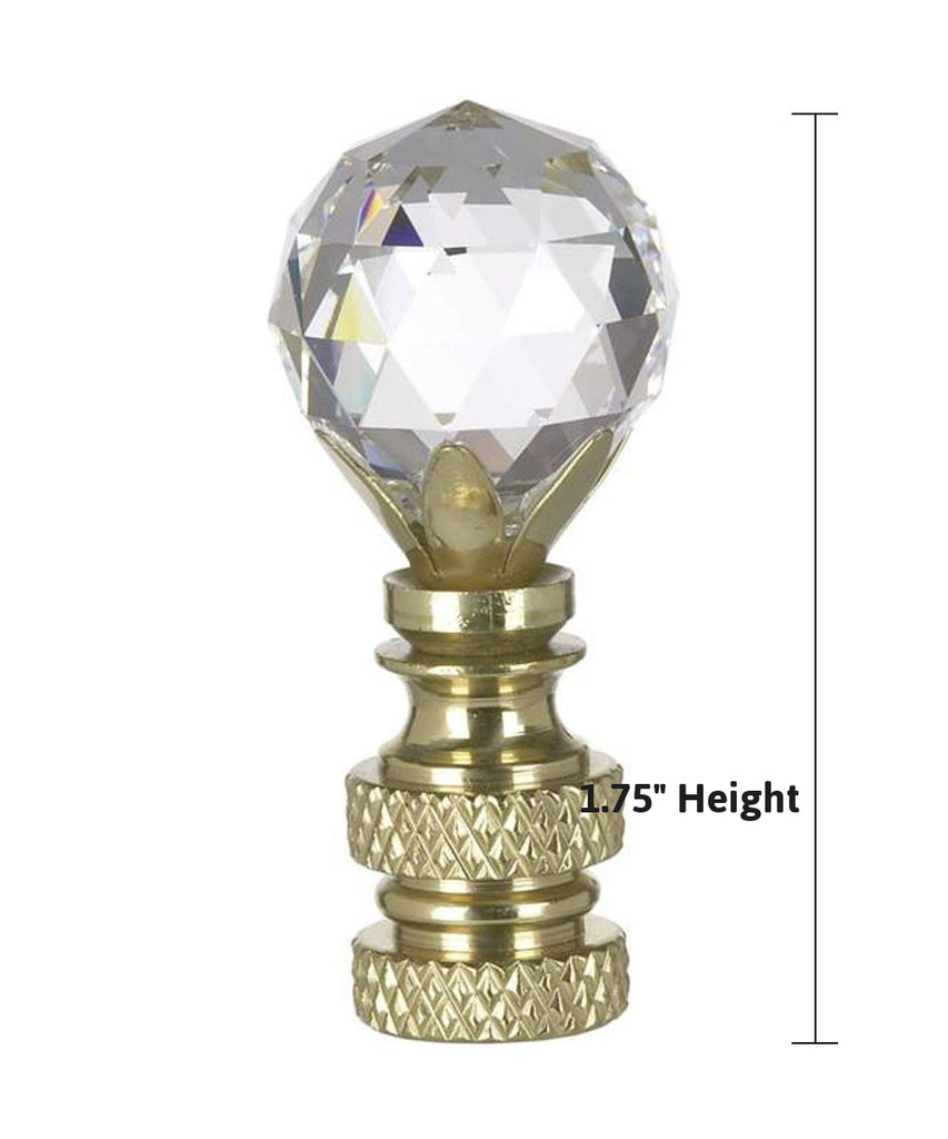 "Stephanov Multi-Faceted Lamp Finial Crystal Ball Polished Brass Finish 2""h"