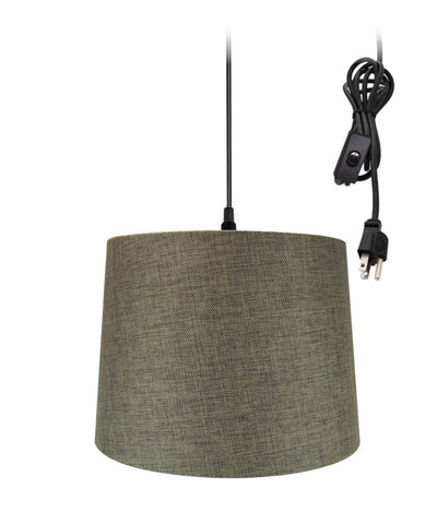 "0-002000>14""w 1-Light Plug-In Swag Pendant Lamp Chocolate Burlap"