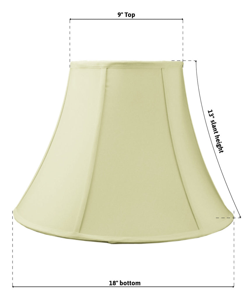 0-001163>9x18x13.5 SLIP UNO FITTER Egg Shell Shantung Bell Lampshade