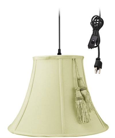0-002000>1-Light Plug In Swag Pendant Ceiling Light Tassle Eggshell Shade
