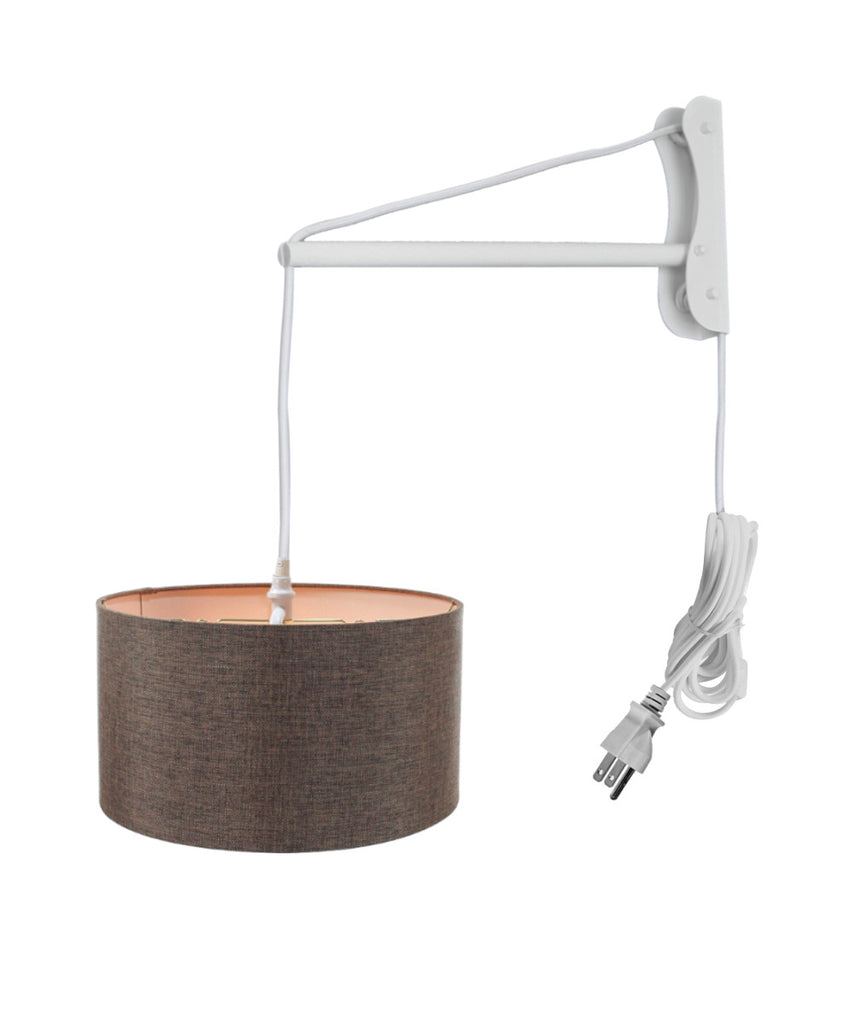 MAST Plug-In Wall Mount Pendant, 2 Light White Cord/Arm with Diffuser, Chocolate Burlap Shade 14x14x07
