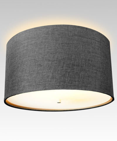 "16"" Moderne Flush Mount Converter Kit Granite Grey Burlap Hardback Drum Lampshade 16""x16""x8"""