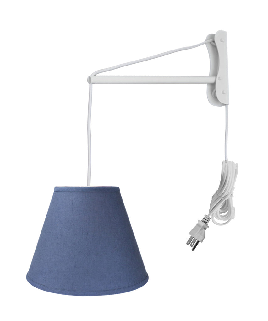 0-002458>MAST Plug-In Wall Mount Pendant, 1 Light White Cord/Arm, Textured Slate Blue Shade 09x16x12